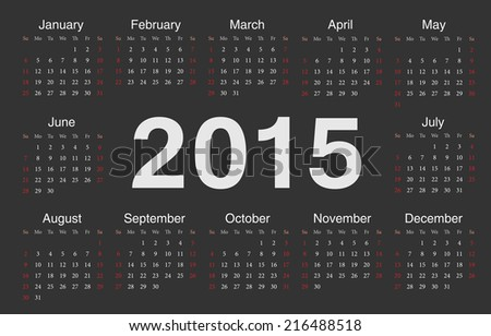 Vector black circle calendar 2015. Week starts from Sunday. - stock vector