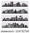 vector black cities silhouette icon set on gray - stock