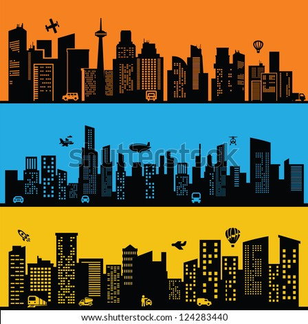 vector black city icons set on color background - stock vector