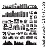 vector black city icons set on gray - stock photo