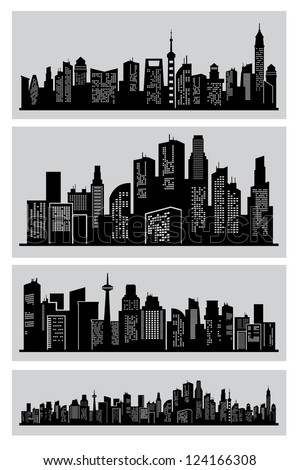 vector black city icons set on white