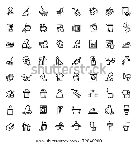 vector black cleaning icons set - stock vector