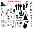 vector black clip-arts collection - stock photo