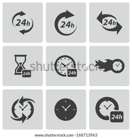 Vector black clock icons set on white background.