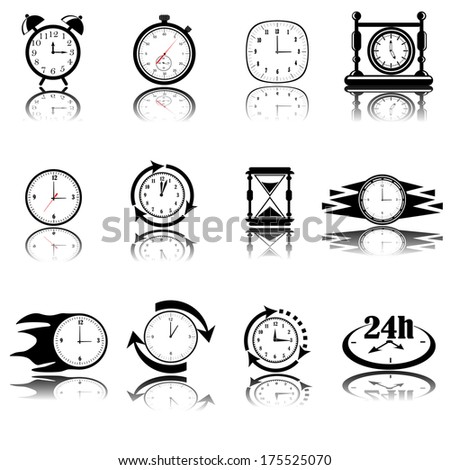 vector black clocks icon