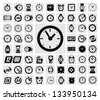 vector black clocks icon set on gray - stock
