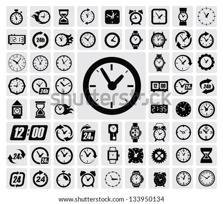 vector black clocks icon set on gray - stock vector