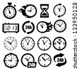 vector black clocks icon set on white - stock vector