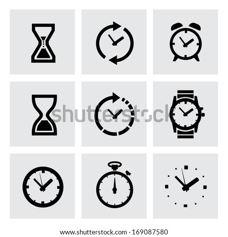 vector black clocks icons - stock vector