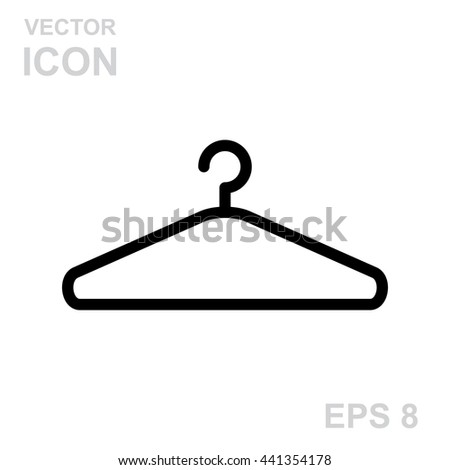 Vector black clothes Hanger icon isolated on white background - stock vector