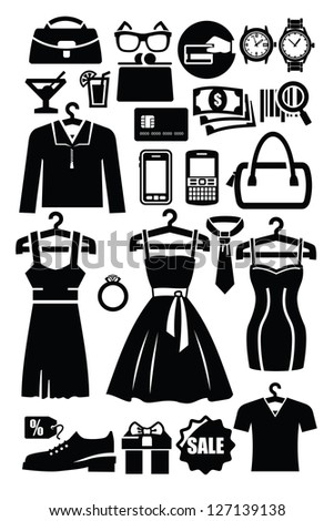 vector black clothing shop icon set on white - stock vector