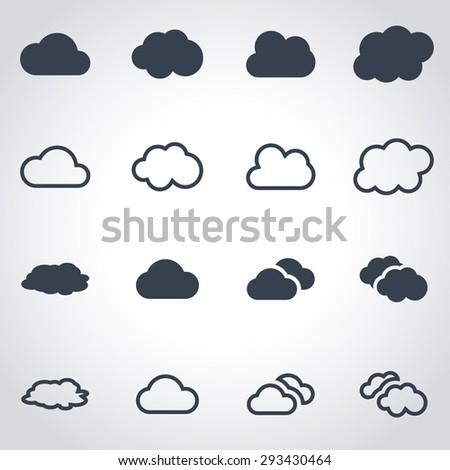 Vector black cloud icon set - stock vector