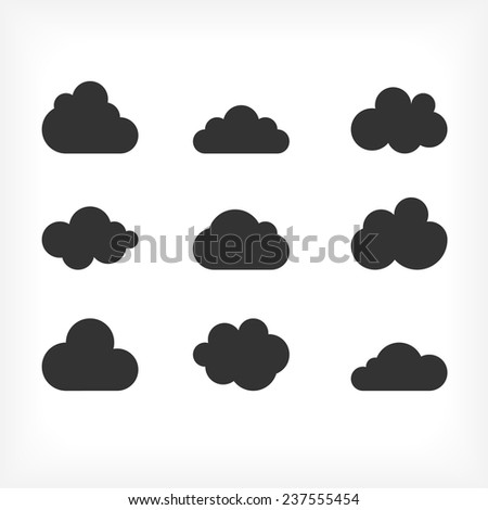 Vector black cloud icons set. Cloud shapes collection. Cloud icons for cloud computing web and app. - stock vector