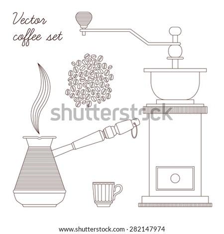 Vector black coffee set. Lines coffee concept. Coffee set in vector. - stock vector