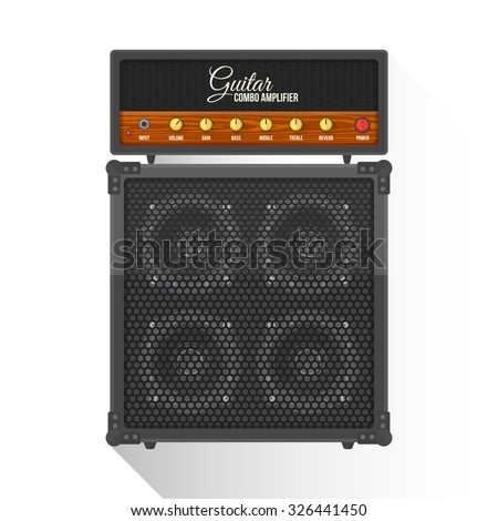 vector black color flat design retro guitar combo amplifier cabinet illustration isolated white background long shadow - stock vector