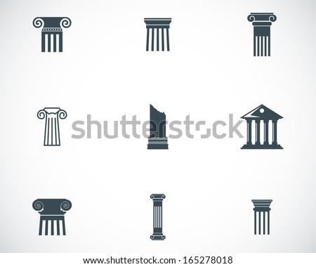 Vector black column icons set - stock vector