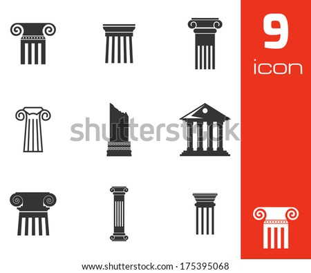 Vector black column icons set on white background - stock vector