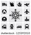 vector black compass and transport icons set on gray - stock vector