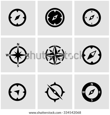 Vector black compass icon set. Compass Icon Object, Compass Icon Picture, Compass Icon Image, Compass Icon Graphic - stock vector - stock vector