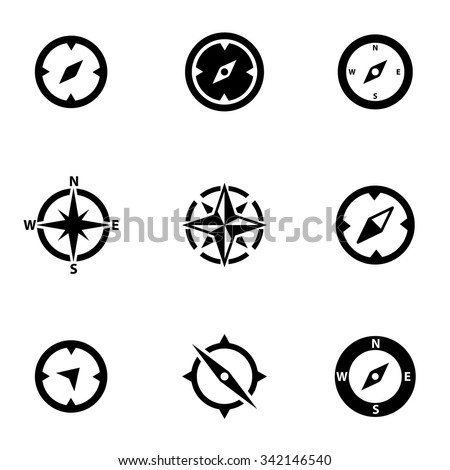 Vector black compass icon set. Compass Icon Object,  Compass  Icon Picture,  Compass Icon Image - stock vector - stock vector