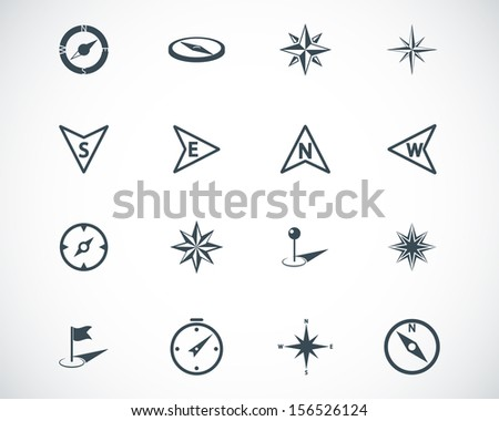 Vector black compass icons set - stock vector