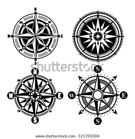 vector black compass icons set on gray - stock vector