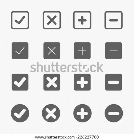 Vector black confirm icons set - stock vector