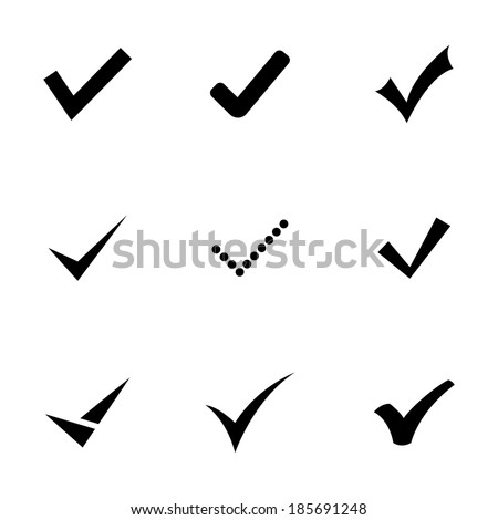 Vector black confirm icons set on white background - stock vector