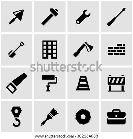 Vector black construction icon set. Construction Icon Object, Construction Icon Picture, Construction Icon Image, Construction Icon Graphic, Construction Icon JPG - stock vector - stock vector