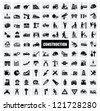 vector black construction icon set on gray - stock photo