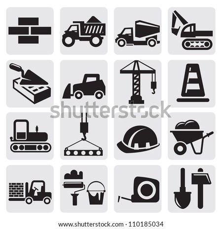vector black construction icon set on gray - stock vector