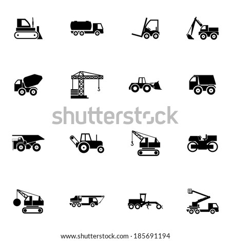 Vector black construction transport icons set on white background - stock vector