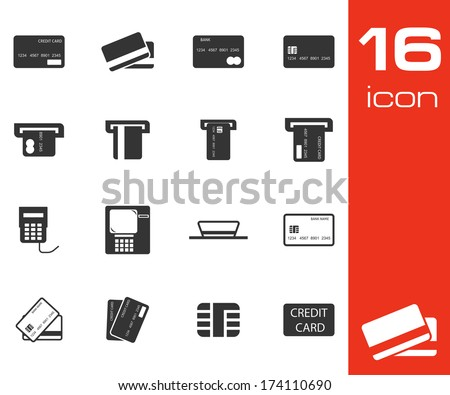 Vector black credit cart icons set on white background - stock vector