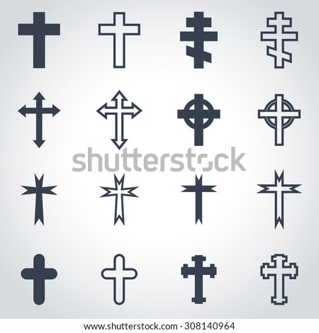 Vector black crosses icon set.