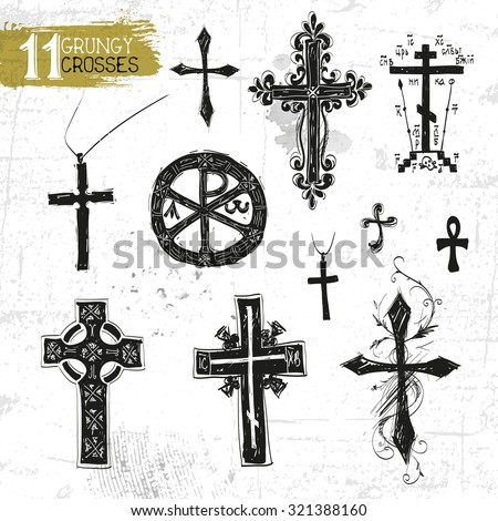 Vector black crosses icon set on white background - stock vector