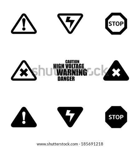 Vector black danger icons set on white background - stock vector