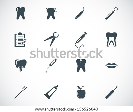 Vector black dental icons set - stock vector