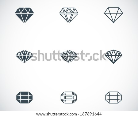 Vector black diamond icons set on white background - stock vector