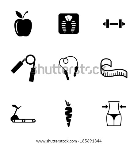 Vector black diet icons set on white background - stock vector
