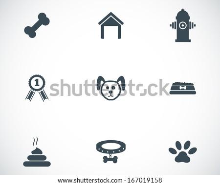 Vector black dog icons set on white background - stock vector