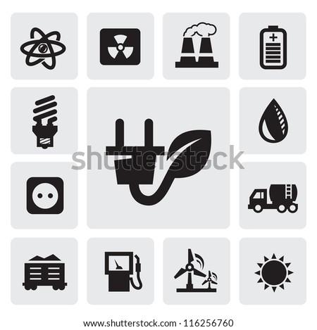 vector black eco energy icons set on gray - stock vector