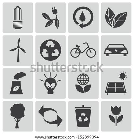 Vector black  eco icons set - stock vector