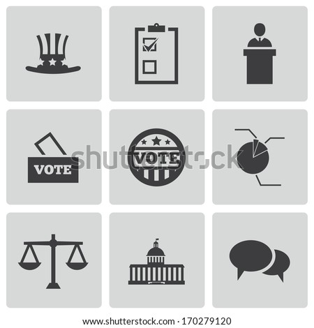 Vector black electiion icons set on white background - stock vector