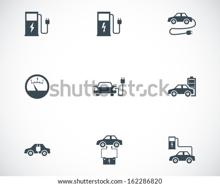 Vector black electric car icons set - stock vector