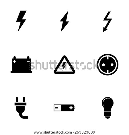 Vector Black Electricity Icon Set On 263323889
