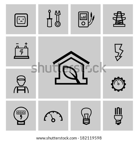 vector black electricity icons set - stock vector