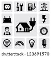 vector black electricity icons set on gray - stock photo