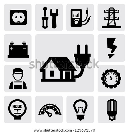 vector black electricity icons set on gray - stock vector