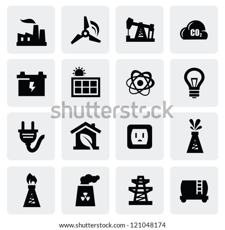 vector black energy icon set on gray - stock vector