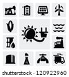 vector black energy industry icon set on gray - stock vector